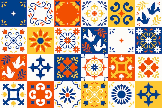 Mexican talavera pattern. ceramic tiles with flower, leaves and bird ornaments in traditional majolica style from puebla. mexico floral mosaic in classic blue and white. folk art design. Premium Vector