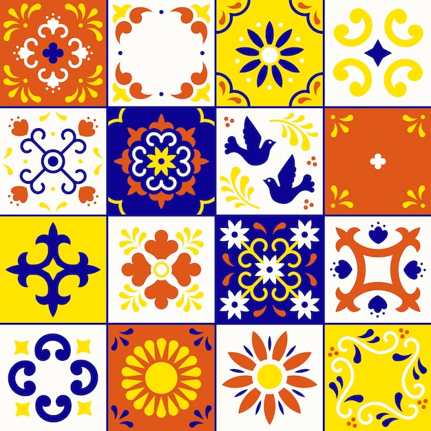 Mexican talavera pattern. ceramic tiles with flower, leaves and bird ornaments in traditional style from puebla. Premium Vector