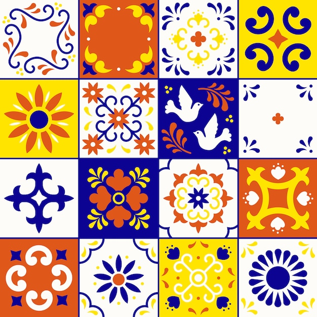 Mexican talavera pattern. tiles ornaments in traditional style from puebla. mexico floral mosaic Premium Vector