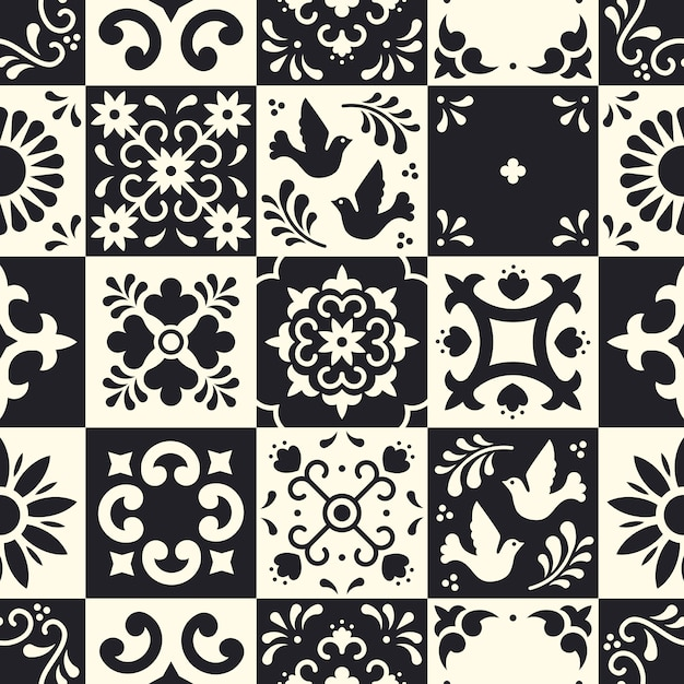 Mexican talavera seamless pattern. ceramic tiles with flower, leaves and bird ornaments in traditional majolica style from puebla. Premium Vector
