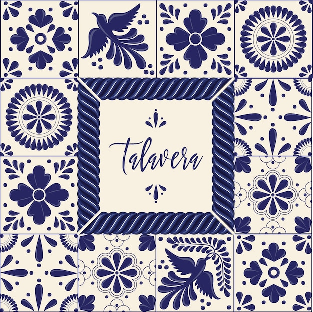 メキシコのタラベラスタイルのコピースペース構成 Premiumベクター