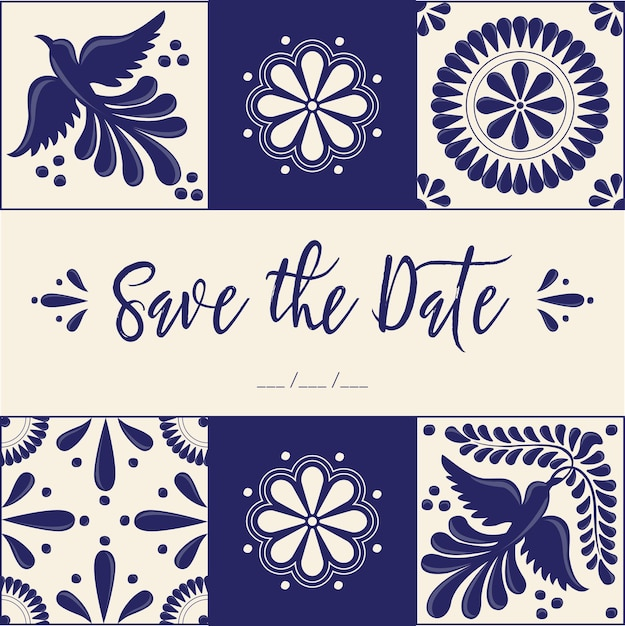 Mexican talavera style save the date card Premium Vector