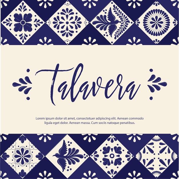 メキシコのタラベラタイルバナーテンプレート Premiumベクター