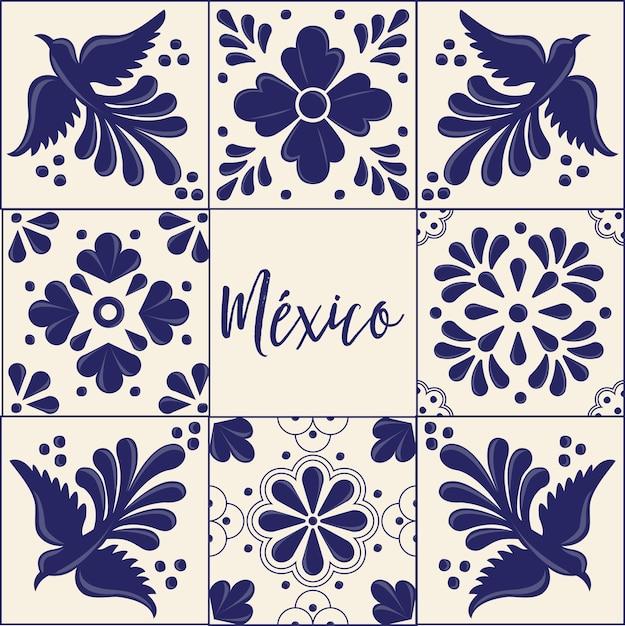 Mexican talavera tiles collection Premium Vector