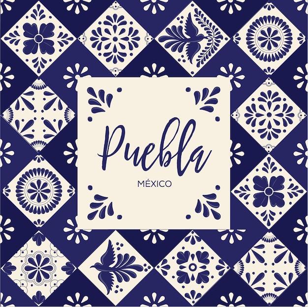 プエブラのメキシコのタラベラタイル Premiumベクター