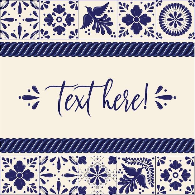 Mexican talavera tiles horizontal banner template Premium Vector
