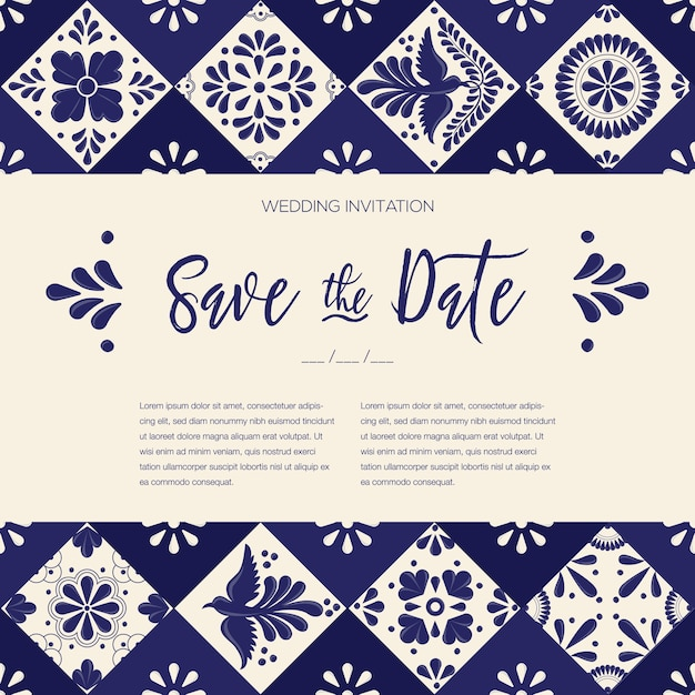 Mexican talavera tiles save the date card template Premium Vector