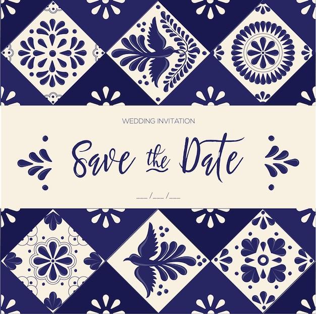 Mexican talavera tiles - save the date card template Premium Vector