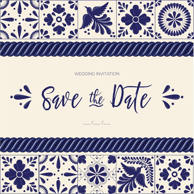 Mexican talavera tiles - save the date card template Premium Vector