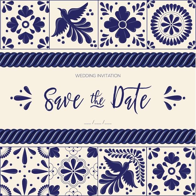 Mexican talavera tiles save the date card Premium Vector