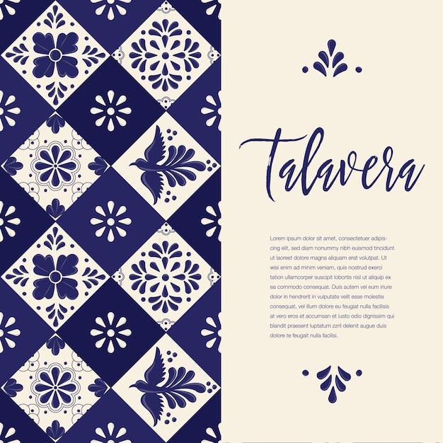 Mexican talavera tiles - vertical banner template Premium Vector