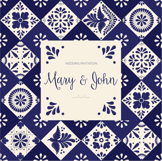 Mexican talavera tiles wedding invitation template Premium Vector