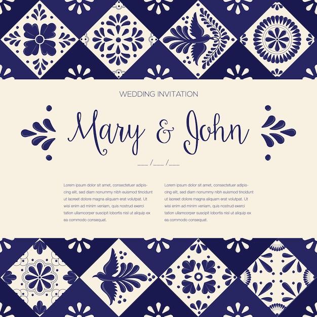 Mexican talavera tiles - wedding invitation template Premium Vector