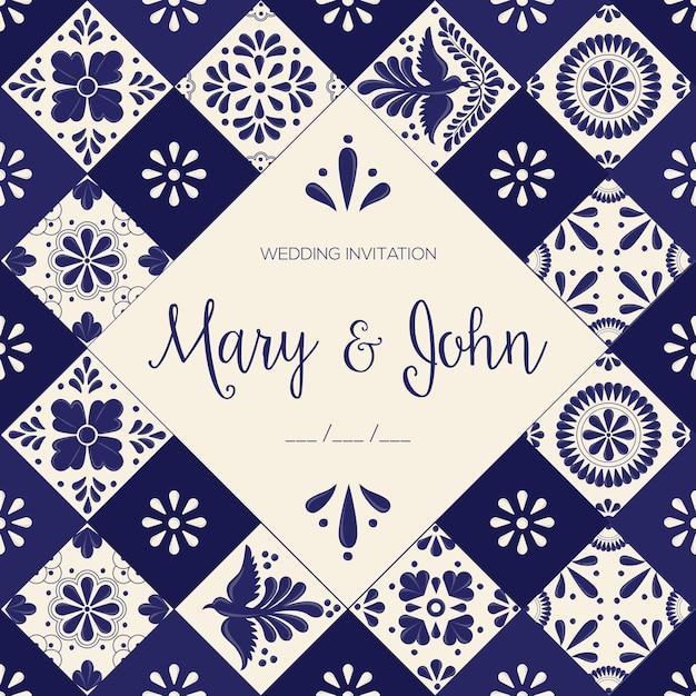 Mexican talavera tiles wedding invitation template Premium Vector