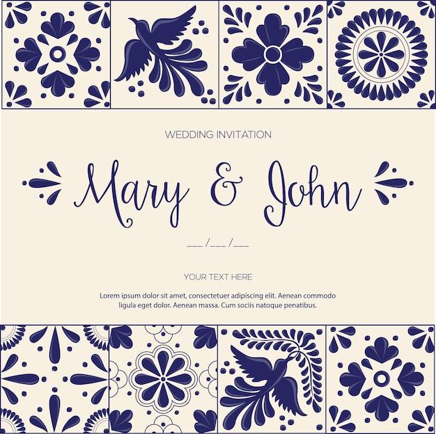 Mexican talavera tiles for wedding invitation Premium Vector