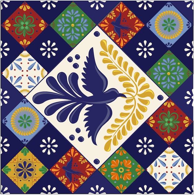 形のメキシコのタラベラタイル Premiumベクター