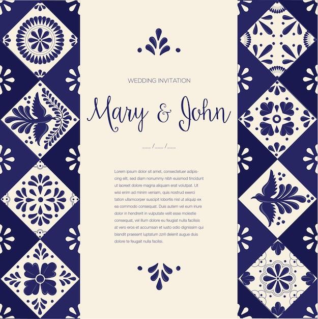 Mexican talavera wedding invitation Premium Vector