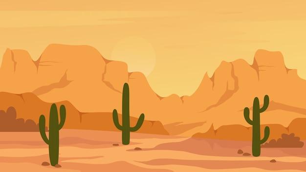 メキシコ領テキサスまたはアリゾナの砂漠の風景 Premiumベクター