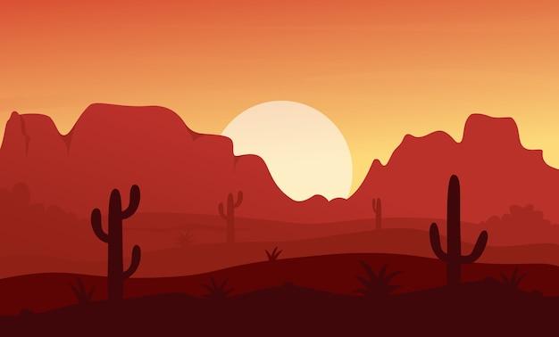 メキシコ、テキサス、またはアリゾナの日没の砂漠の自然の風景、岩や山のある乾燥した風景 Premiumベクター