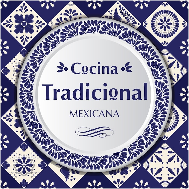 Mexican traditional cuisine. talavera style composition Premium Vector