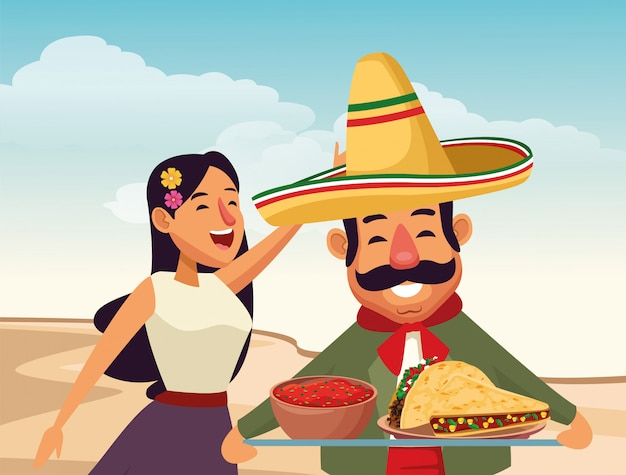 Mexican traditional culture icon cartoon Free Vector
