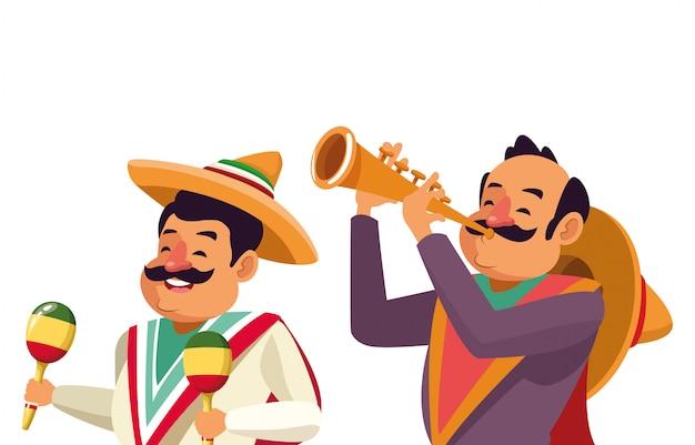 Mexican traditional culture icon cartoon Premium Vector