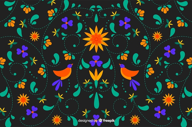 Mexican traditional floral embroidery background Free Vector