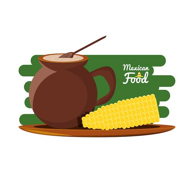 Мексиканская традиционная еда с кукурузой Premium векторы