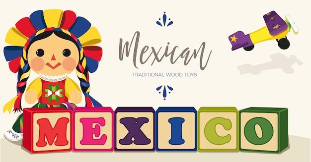 メキシコの伝統的なマリア人形-スペースバナーをコピー Premiumベクター