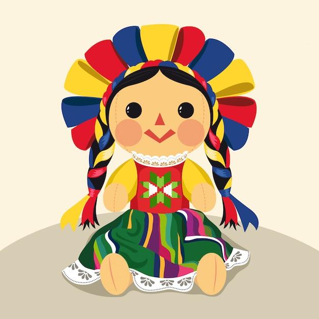 メキシコの伝統的なマリア人形イラスト Premiumベクター