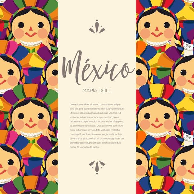 メキシコの伝統的なマリア人形のパターン Premiumベクター