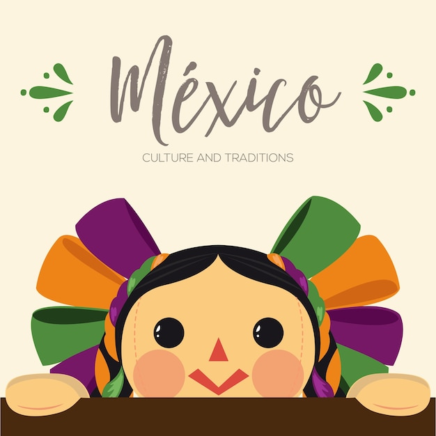メキシコの伝統的なマリア人形 Premiumベクター