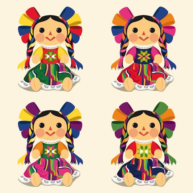 Mexican traditional maría dolls set Premium Vector