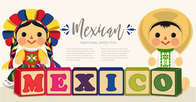 メキシコの伝統的な縫いぐるみ人形のカップル Premiumベクター