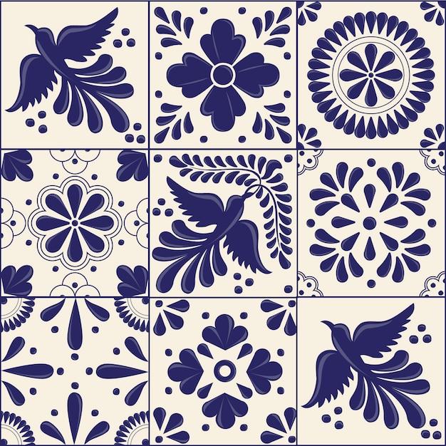 Mexican traditional talavera style tiles Premium Vector