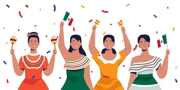 独立記念日を祝うメキシコの女性 Premiumベクター