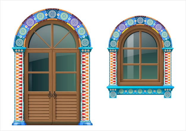 Mexican wooden window and doors Premium Vector