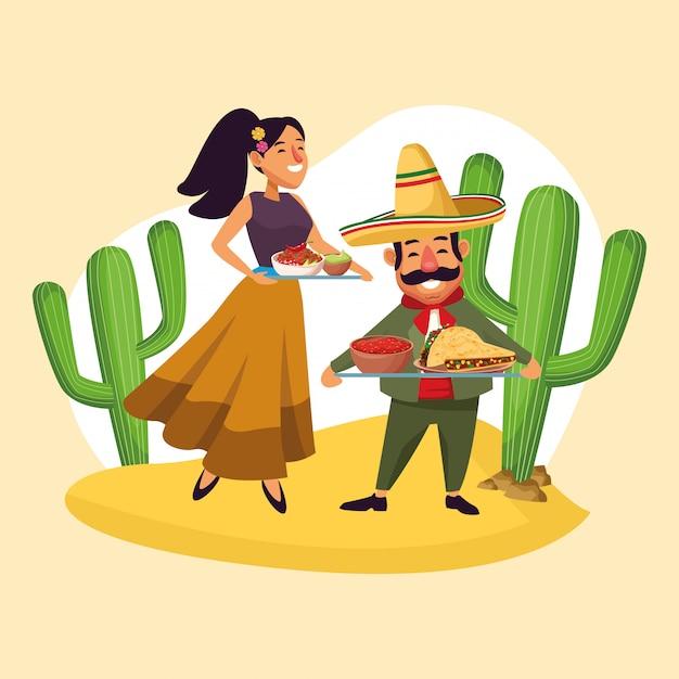 Mexicans celebrating in desert Premium Vector