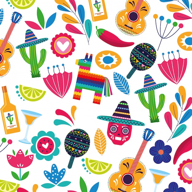 Mexico background pattern Premium Vector