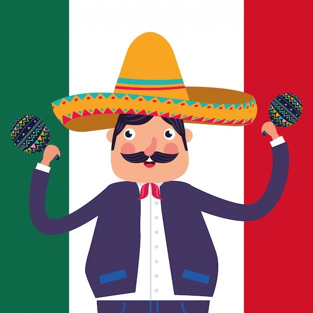 Mexico cartoons card Premium Vector