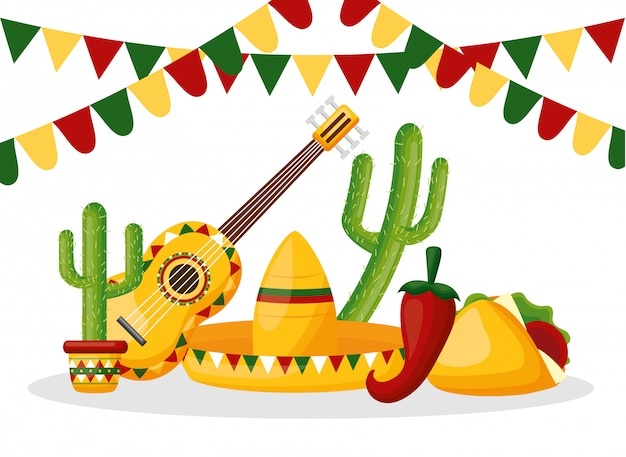 Mexico cinco de mayo mexican objects illustration Free Vector
