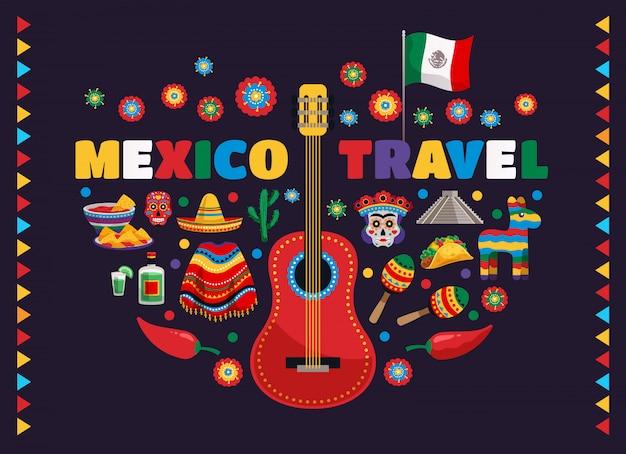 Мексика красочные национальные традиционные символы композиция с гитарным флагом пищевые маски текила кактус путешествия Бесплатные векторы