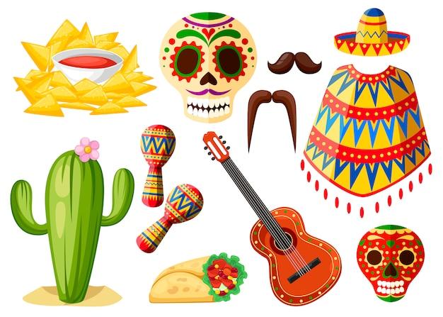 Красочные символы мексики. набор мексиканских иконок. латинские традиционные символы этнической принадлежности. стиль . иллюстрация на белом фоне Premium векторы
