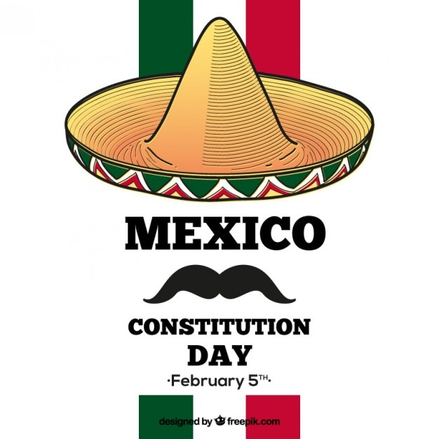 Mexico constitution day background with a hat and a moustache Free Vector