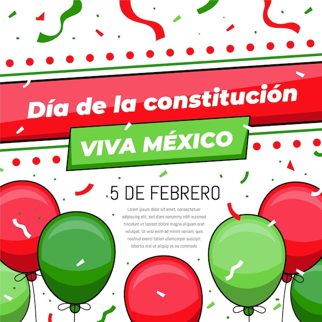 Mexicoconstitution day balloons Free Vector