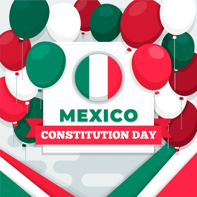 Mexico constitution day colorful balloons Free Vector