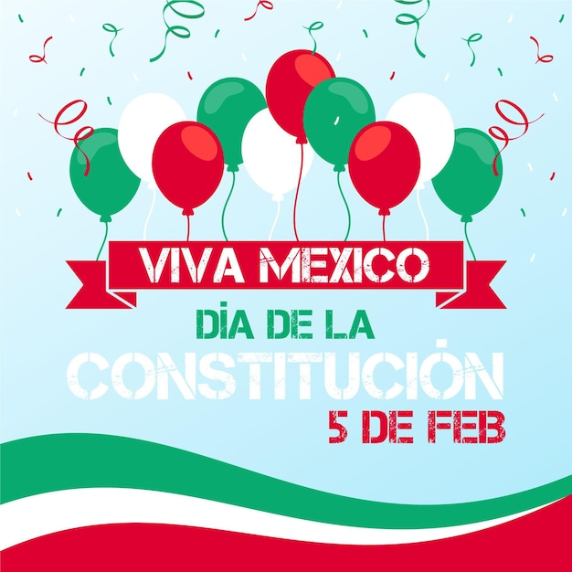 Mexico constitution day flat balloons illustration Free Vector