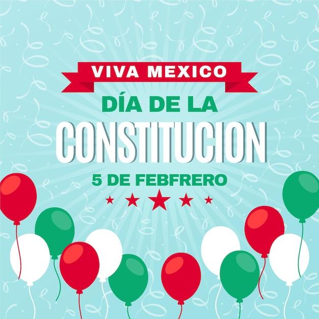 Mexico constitution day flat design balloons Premium Vector