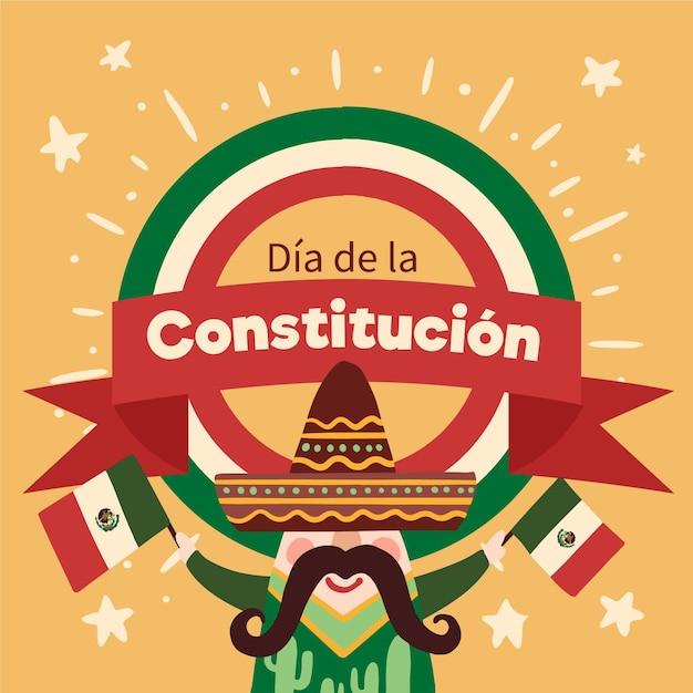 Illustrazione disegnata a mano di giorno della costituzione del messico Vettore gratuito