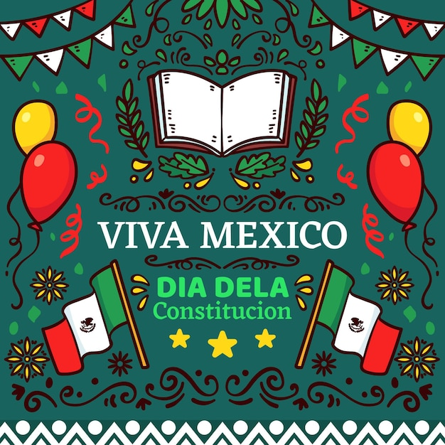 Mexico constitution day hand drawn illustrations Free Vector